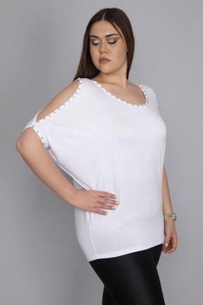 Şans Kadın Kemik Omuz Dekolteli İnci Detaylı Bluz 65N24086