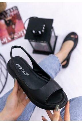 ESPARDİLE Siyah Cilt Sandalet