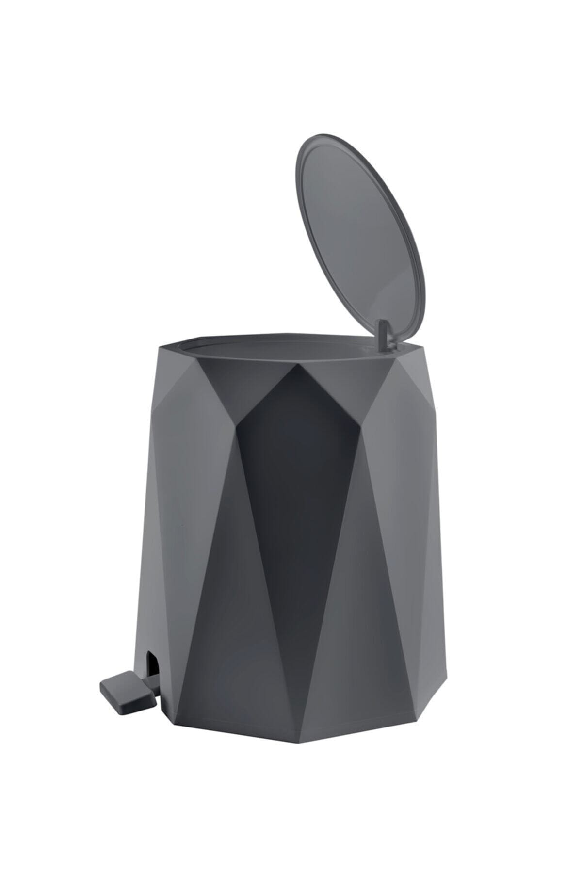 Elif Geo Antrasit 2'li Banyo Seti Plastik 5 lt Çöp Kovası Ve Tuvalet Fırçası 2