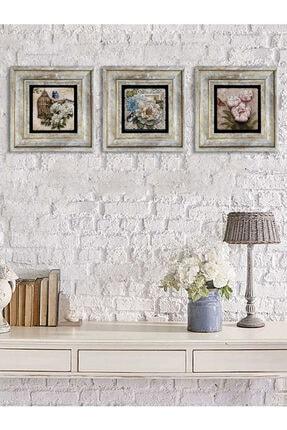 Oscar Stone Decor Çerçeveli Taş Baskılı Duvar Tablosu Seti 20x20 cm 3'lü Set