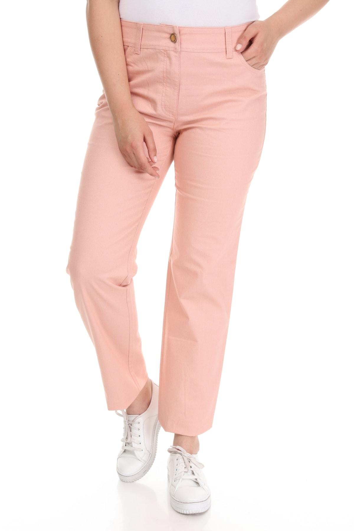 Big Free Kadın Pembe Arka Cebi Taşlı Bol Paça Pantolon UJ 1
