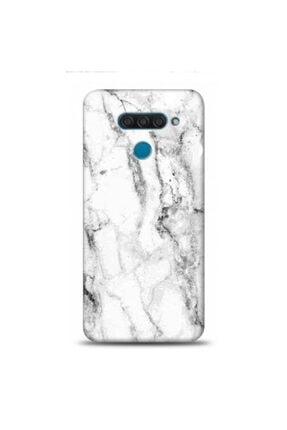 EXCLUSIVE Lg Q60 Beyaz Mermer Desenli Telefon Kılıfı