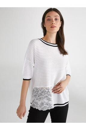 Faik Sönmez Kadın Dantel Detaylı Kontrast Şeritli Triko Bluz 62631