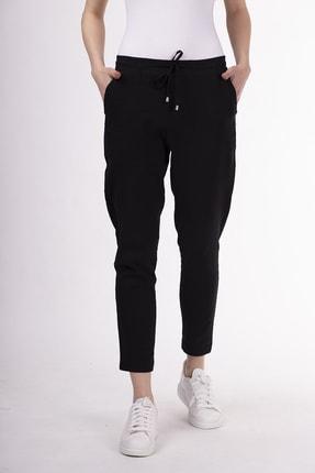STAMINA Kadın Siyah Beli Bağcıklı Lastikli Cepli Pantolon-5ktp5