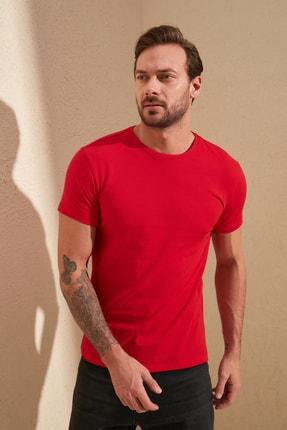 TRENDYOL MAN Kırmızı  Erkek Basic Pamuklu Kısa Kollu Bisiklet Yaka  Slim Fit T-Shirt - TMNSS19BO0001
