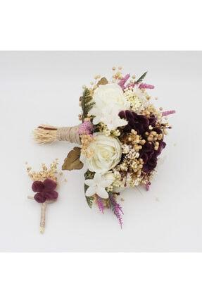 BÜYÜTEÇ KINA Gelin Buketi Mürdüm Krem Gelin Eli Buketi Gelin Çiçeği Ve Damat Yaka Çiçeği