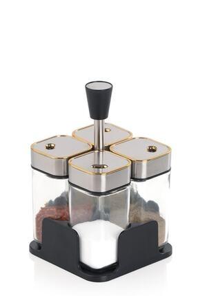 ACAR Alya 4'lü Metal Standlı Kare Cam Baharat Seti