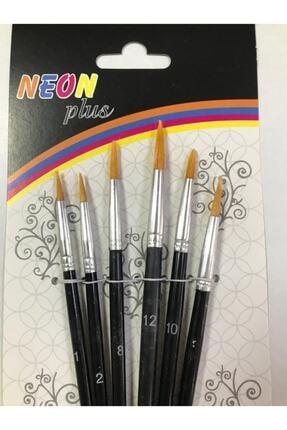 Neon Plus Np Kd-103 6lı Yuvarlak Uç Sulu Boya Fırça Seti Resim Fırçası Akrilik Boya Hobi Çalışmaları