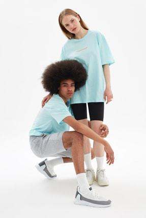 TRENDYOL MAN Mavi Unisex Oversize T-Shirt TMNSS21TS3344