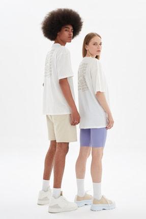 TRENDYOL MAN Beyaz Unisex Oversize T-Shirt TMNSS21TS3344