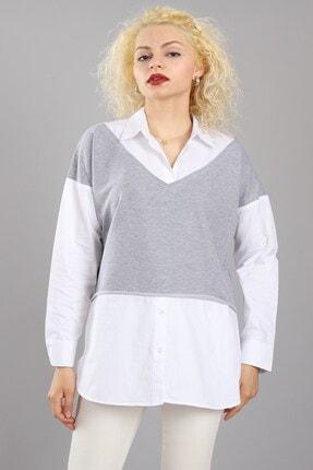 Arlin Kadın Iki Kol Süveter Model Uzun Kollu Düğme Detaylı Yan Yırtmaçlı Beyaz Gri Gömlek