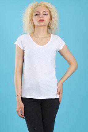 Arlin Kadın V Yaka Pamuklu Kısa Kollu Beyaz T-shirt