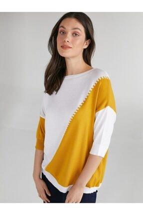 Faik Sönmez Kadın Blok Renkli Kısa Kol Triko Bluz 62624