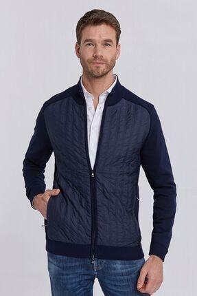 Hemington Erkek Kapitone Işlemeli Lacivert Loungewear Triko Hırka