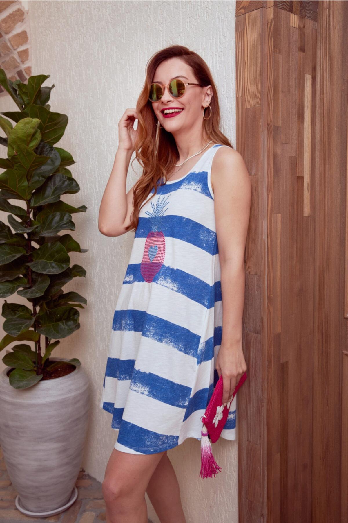 MYSUMMERBLUE Çizgili Önü Nakışlı Kolsuz Cepli Cancun Kadın Plaj/ev Elbisesi 1