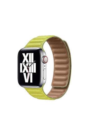 zore ???Apple Watch 40 mm Uyumlu Krd-34 Deri Kordon Renk Sarı