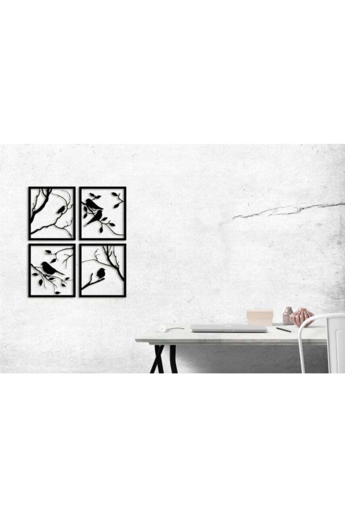 YamanLazer Kuş Ve Ağaç Tasarımlı Ahşap Tablo 4'lü 2