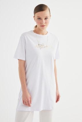 Trendyol Modest Beyaz Varak Baskılı Kısa Kollu Örme Tesettür Tunik TCTSS21TN0410