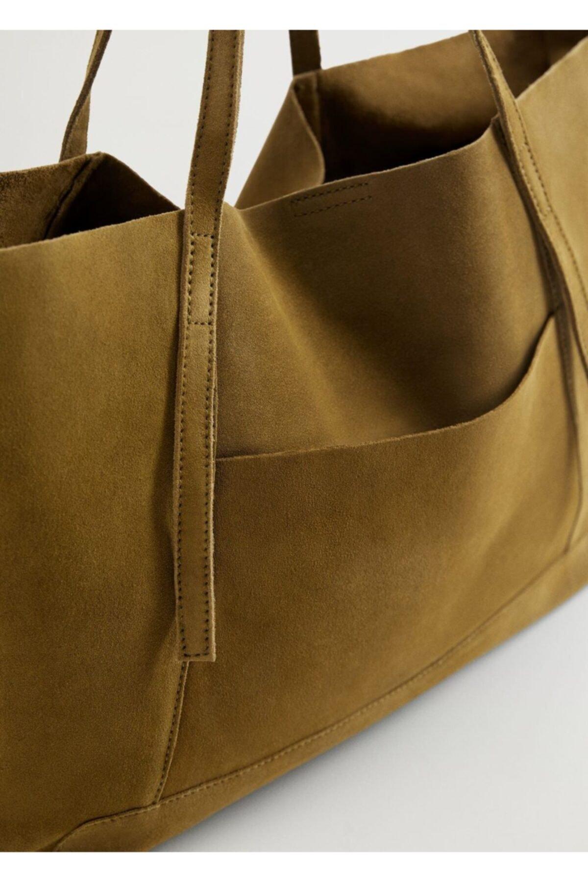 MANGO Woman Kadın Haki Deri Shopper Çanta 1
