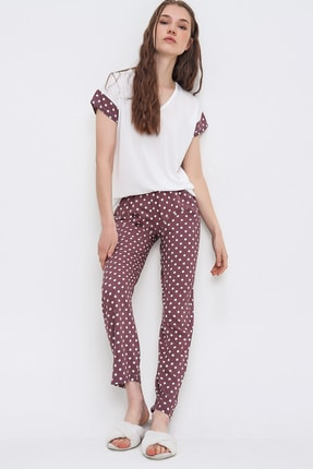 Trend Alaçatı Stili Kadın Gül Kurusu V Yaka Puantiyeli Pijama Takımı ALC-X6398