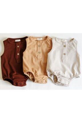 LAL Babyrompers 3 Lü Alttan Çıtçıtlı Kız Erkek Bebek Tulumu