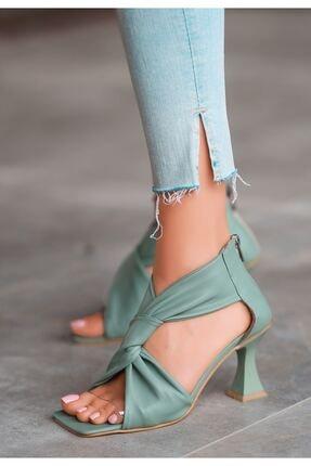 FUGA MODA Myem Turkuaz Cilt Topuklu Ayakkabı