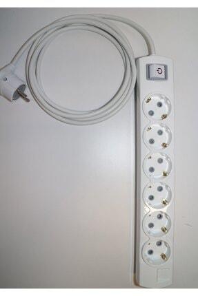 3K ÖZGÜR ELEKTRİK Beyaz Anahtarlı Topraklı Çocuk Korumalı Grup Priz Ara Kablo 6'lı  8 mt.