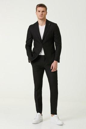 Network Erkek Drop 6 Slim Fit Siyah Keten Takım Elbise 1079708