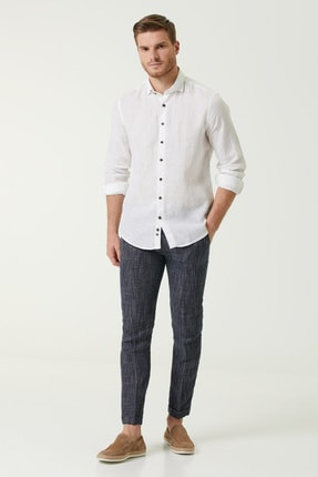 Network Erkek Slim Fit Lacivert Desenli Keten Pantolon 1078665