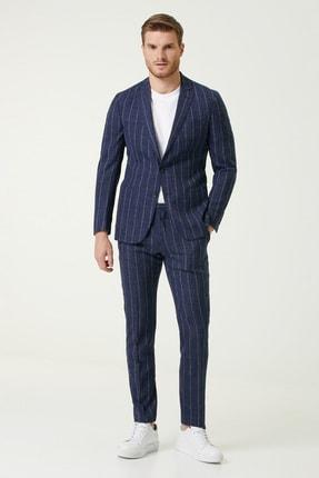 Network Erkek Slim Fit Lacivert Çizgili Yün Takım Elbise 1078626