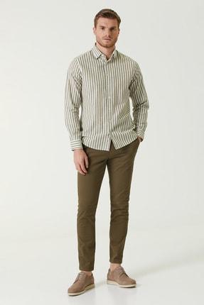 Network Erkek Slim Fit Haki Diyagonal Dokulu Pantolon 1077990