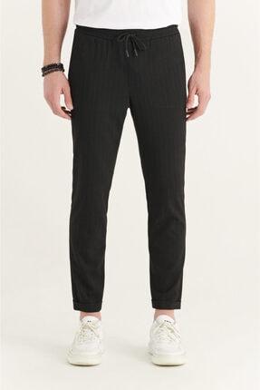 Avva Erkek Siyah Yandan Cepli Beli Lastikli Kordonlu Çizgili Relaxed Fit Pantolon E003001