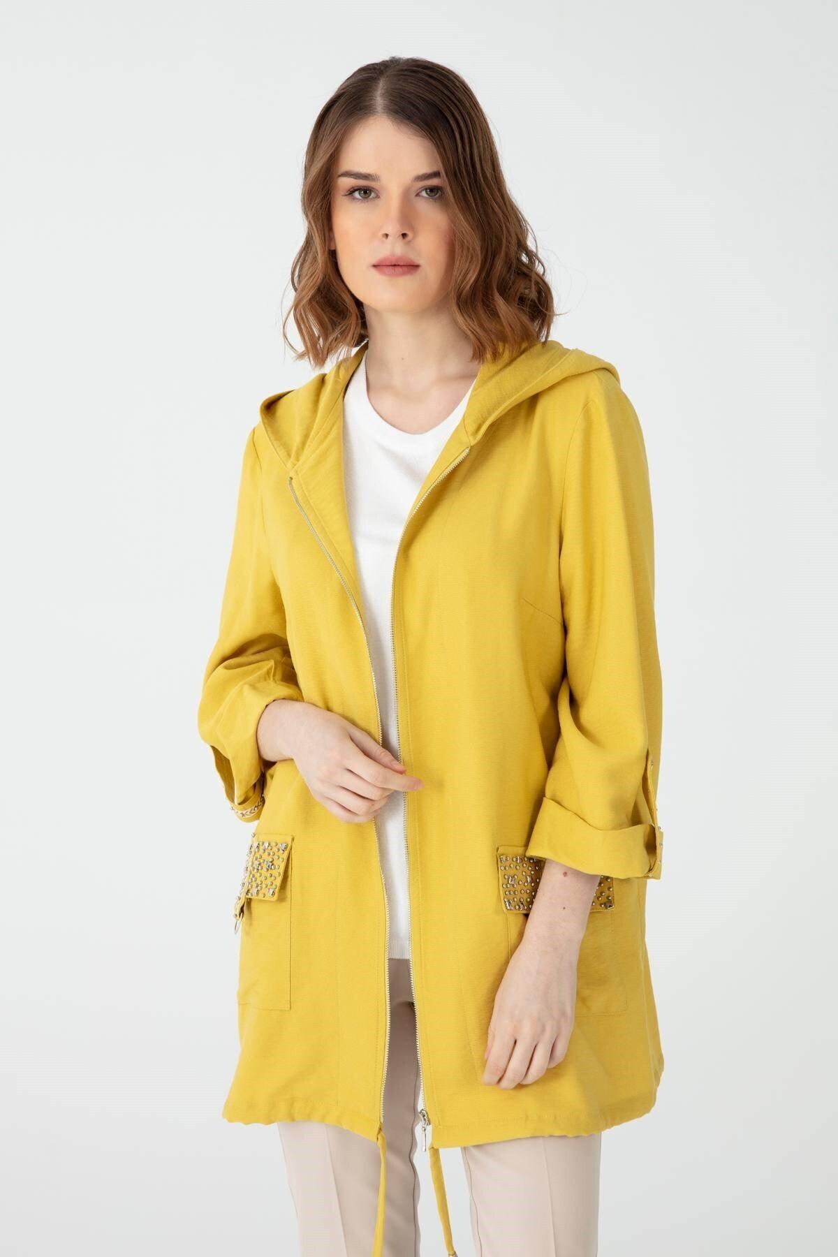 Desen Triko Kadın Cebi Işlemeli Keten Ceket Ce1104 Safran 2