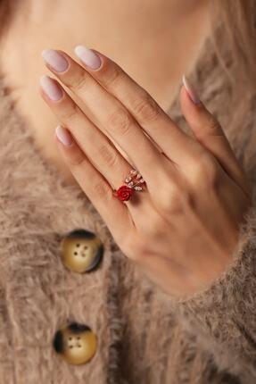 LOTUS GÜMÜŞ Kadın Gül Motifli Sarmaşık 14k Rose Altın Kaplama Yüzük