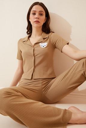 Happiness İst. Kadın Bisküvi Armalı Fitilli Örme Pijama Takımı KH00065