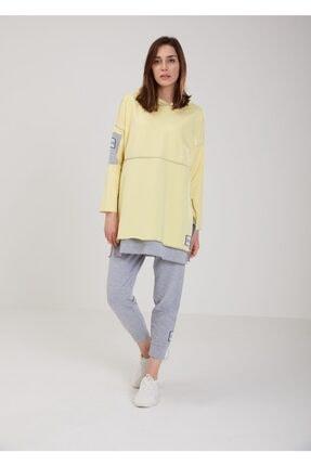 oia W-0900 Sarı Renk Pamuklu Tunik Pantolon Takım Eşofman Takım