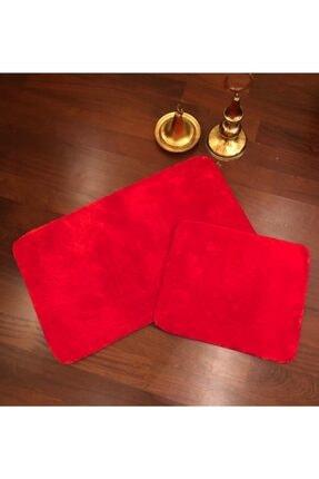 Balat Halı Kırmızı Kaymaz Taban Peluş Banyo Paspası 2 Parça