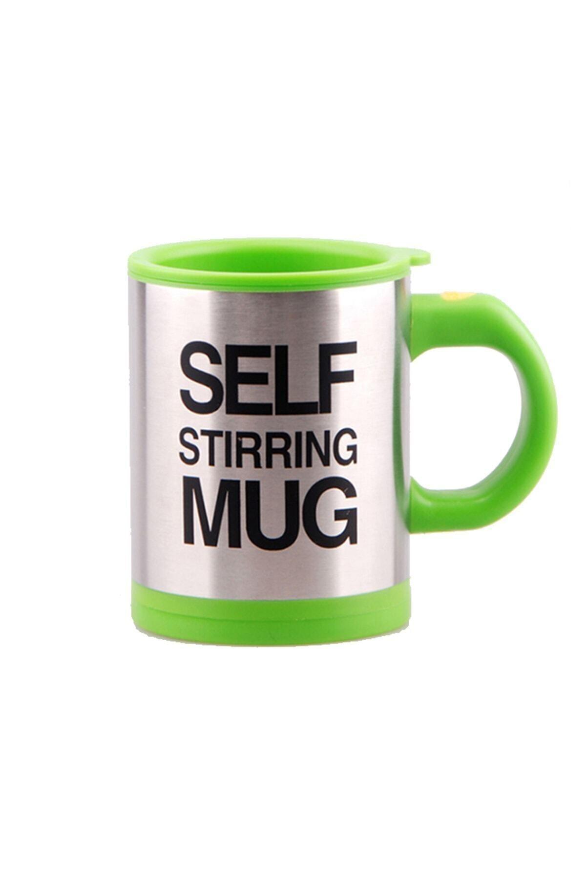Patladı Gitti Kendi Kendini Karıştıran Mikser Kupa Termos Bardak; Self Stirring Mug - Yeşil 1