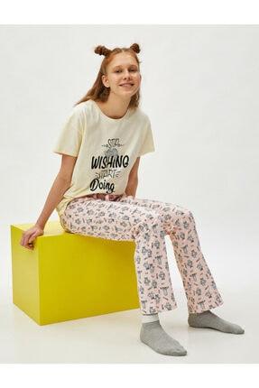 Koton Kadın Pembe %100 Pamuk Baskılı Pijama Takımı