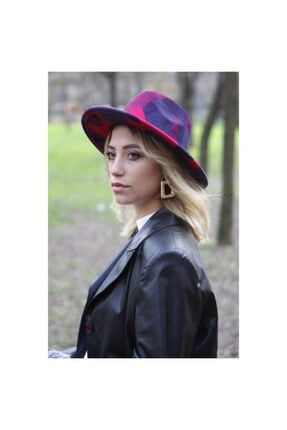 Bay Şapkacı Desenli Kadın Bordo Fötr Şapka 7185