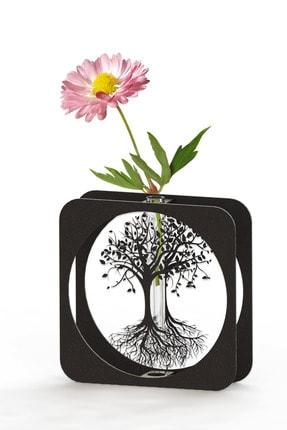 thorqtech Linda Hayat Ağacı Metal Siyah Vintage Vazo Tekli Dekoratif Minimalist Çiçeklik