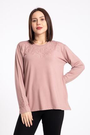 Nacar Anne Yaka Süslemeli Penye Bluz( Yaka Deseni Farklılık Gösterebilir )