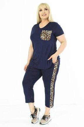 Mooi XXL Kadın Lacivert Leopar Garnili Yarım Kol Büyük Beden Takım