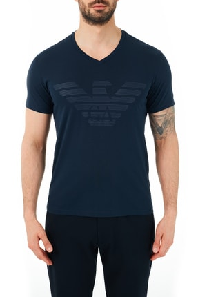 Emporio Armani Erkek Lacivert V Yaka T Shirt