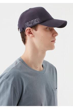 Mavi Flyer Baskılı Antrasit Şapka