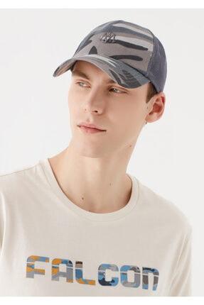 Mavi Mühür Logo Baskılı Kamuflaj Desenli Şapka