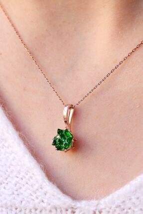 LOTUS GÜMÜŞ Yeşil Lotus Çiçeği 925 Ayar Gümüş Zincir Kadın Kolye