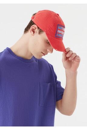 Mavi Erkek terranean Baskılı Kırmızı Şapka 092524-32136