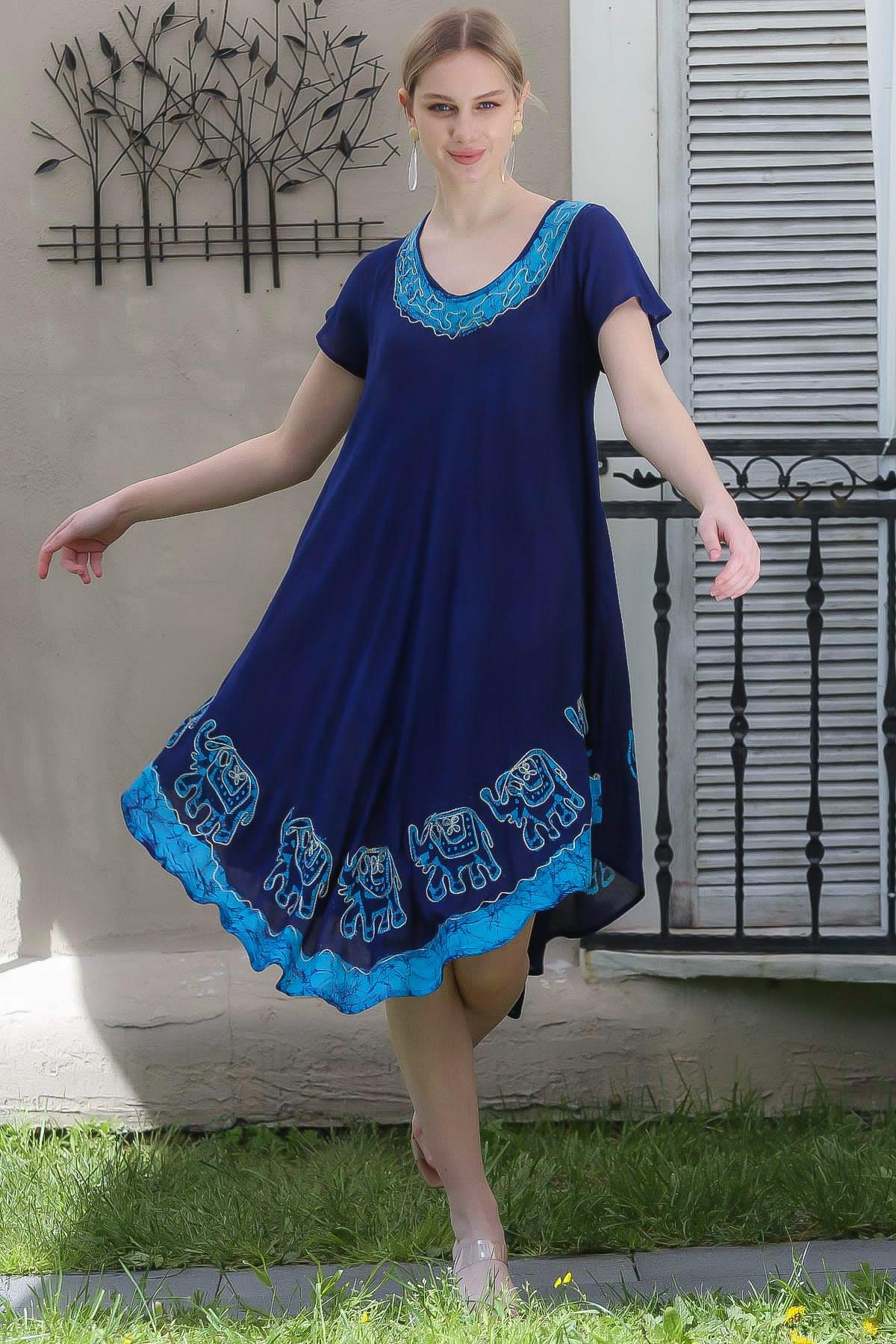Chiccy Kadın Lacivert Hint İşi Fil Desenli Kısa Kollu Batik Elbise M10160000EL94987