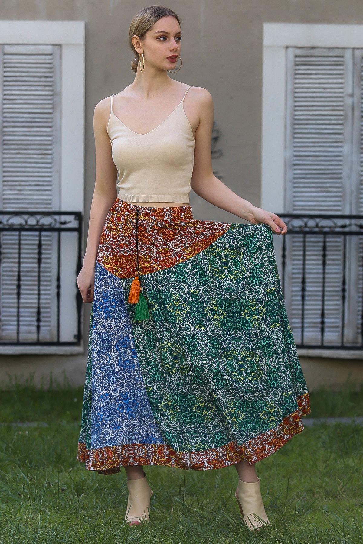 Chiccy Kadın Kiremit-Yeşil Çıtır Çiçek Desenli Kiremit Mavi Yeşil Bloklu Kloş Uzun Etek M10110000ET99252
